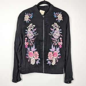 A. Moss Floral Embroidered Bomber Jacket NWT